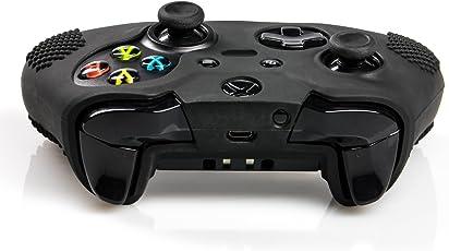 giZmoZ n gadgetZ GNG Genoppte Anti-Rutsch-Hülle aus Silikon für Xbox One x 1(schwarz) + Thumb Grips x 8