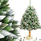 M&W Weihnachtsbaum Christbaum Kiefer künstlich im Topf Jute FICHTE NATURSTAMM Diamantkristalle Weiss Baumstamm aus Echtem Holz Tannenbaum Höhe 160 cm / 180 cm / 215 cm