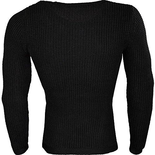 RedBridge by Cipo Baxx Herren Pullover Sweater Mens Shirt Strickpulli Slim Fit Schwarz