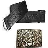 Leather Kilt Belt Embossed and Antique Thistle Buckle - 2 piece Set