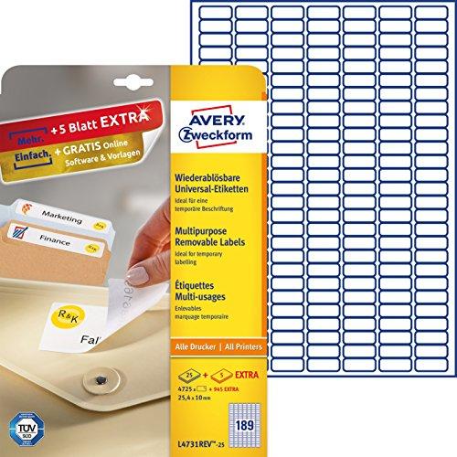 Avery Zweckform Etichette adesive, 25,4 x 10 mm, 4725 etichette, colore: Bianco
