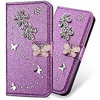 3D Butterfly Bling Glitter Glitzer Diamond Musterg Ledertasche Slim Retro Bookstyle mit Standfunktion Karteneinschub Magnetverschluss Brieftasche Flip Wallet Hülle Schutzhülle für Huawei P8 Lite 2017