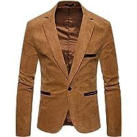 GUOCU Men's Casual Suit Jacket Stylish Corduroy Blazer Jacket Slim Fit One Button Lightweight Sport Coats Retro Notched…