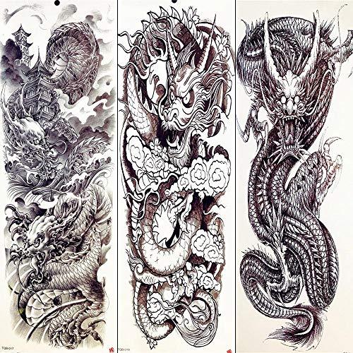 Kostüm Drachen Papier Chinesischer - Totem Tattoos Sommer Temporäre Tattoos Chinesischer Drache Volle Arm Ärmel Tattoos Aufkleber Body Art Zeichnung Männer Tattooss Beine