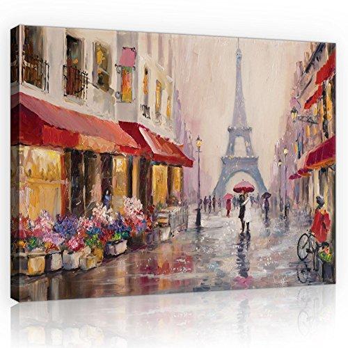 Welt-der-TräumeWANDBILD CANVASBILD Wandbild Leinwandbild Kunstdruck Canvas | Paris | O4 (60cm. x 40cm.) | Canvas Picture Print PP11512O4-MS | Stadt Paris Gemälde Frankreich Kunst Eiffelturm