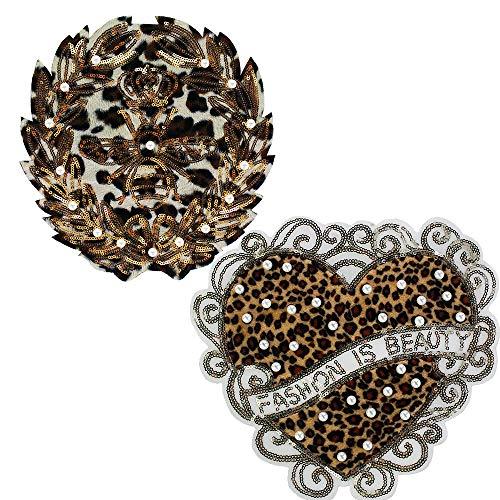 Print Mit Pailletten-jacke (EMDOMO Bienenkranz mit Perlen, Pailletten, Leopardenmuster, Streifen, Aufnähen auf Herz-Stickerei, für Kleidung, 2 Stück)
