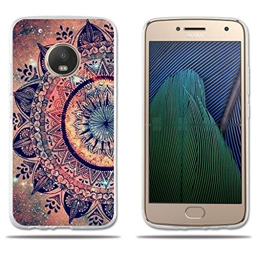 Motorola Moto G5 Plus Funda TPU de Gel de Silicona, FUBAODA ,Lujoso Dibujo de un Mandala, Resistente a Golpes, Antipolvo, Resiste a los Arañazos, Carcasa Protectora de Goma de Calidad Superior para Motorola Moto G5 Plus