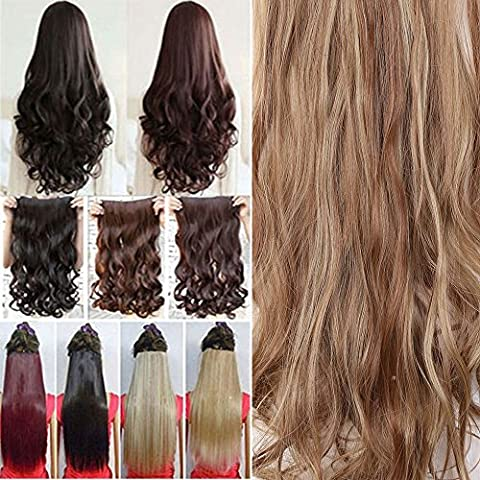 1Pcs 5 Clips 24 Inch Curly Half Full Head Clip in on Hair Extensions Highlight Women Lady Hairpiece Light Brown & Ash Blonde