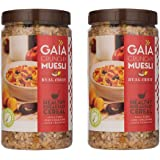 Gaia Crunchy Muesli Real Fruit - Flakes, Oats, Almond, Raisins & Real Fruit, Power-Packed Low Calorie Healthy Breakfast. 1KG