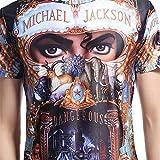Shuanghao MJ Michael Jackson Dangereux Top Punk Coton 100% Coloré T-Shirts Haut T-Shirt Décontracté Royal