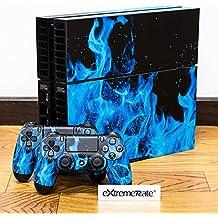 eXtremeRate® Pegatinas de Vinilo Completo Pegatinas de Blue Ice Fire Decals Protectores Placas Frontales para Sony Playstation 4 Juegos PS4 1 x Consola 2 x Controlador