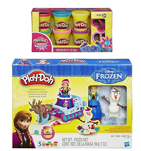 Play-doh sled adventure playset featuring disneys frozen elsa, anna, sven and olaf plus extra play-doh sparkle compound collection compound net wt 12 oz (bundle) by play-doh