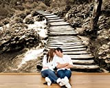 selbstklebende Fototapete - Brücke über einen Fluss - sephia - sepia - 150x100 cm - Tapete mit Kleber – Wandtapete – Poster – Dekoration – Wandbild – Wandposter – Wand – Fotofolie – Bild – Wandbilder - Wanddeko