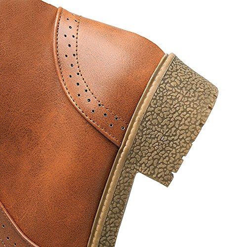 AgooLar Damen Rund Zehe Hoch-Spitze Niedriger Absatz Eingelegt Stiefel mit Metallisch Gelb