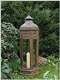 Große sechseckige Laterne aus Holz und Metall Höhe 117 cm L