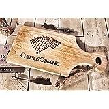 Motif Game of Thrones 'à fromage' en bois Paddle Planche à découper/Cheesboard/plat de service avec corde | 30x 17cm | Cadeau idéal pour les fans de Got