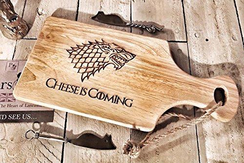 Game of Thrones Design 'Käse' Holz Paddle Schneidebrett/Cheesboard/Servierplatte mit Seil | 30x 17cm | Neuheit Geschenk für Got Fans