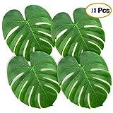 LOTONJT Tropical Palm Blättern Künstlichen Palmwedel, Grün Fensterblätter Blatt Blättern für Beach und Thema Hochzeit Party Dekorationen (12Stück), M