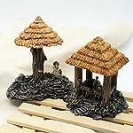 Dimart 6 Pcs Resin High Simulation Chinese Ancient Bungalows Huts Aquarium Ornaments for Fish Tank Khaki 15