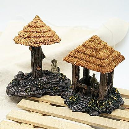 Dimart 6 Pcs Resin High Simulation Chinese Ancient Bungalows Huts Aquarium Ornaments for Fish Tank Khaki 6