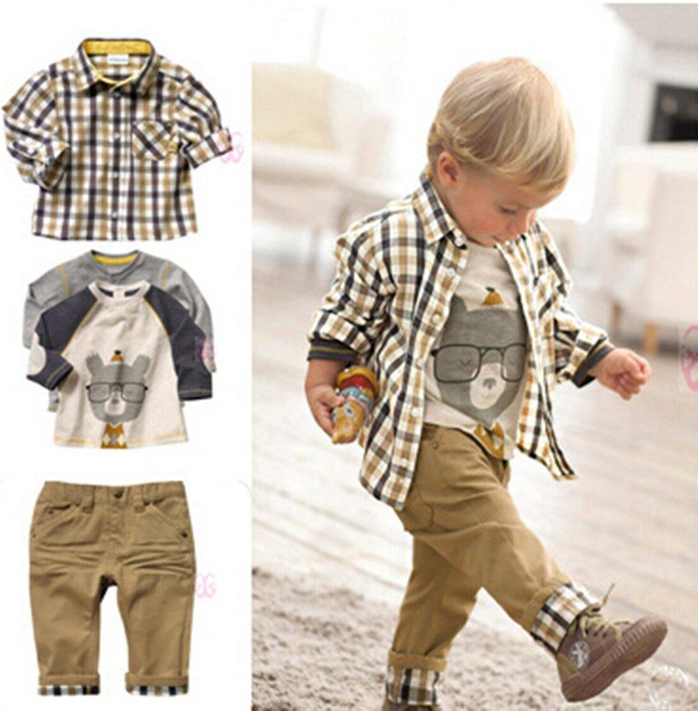Conjunto de 3 piezas, camiseta, camisa a cuadros y pantalones color kaki, para niños de entre 1 y 5 años, marca Sopo… 1