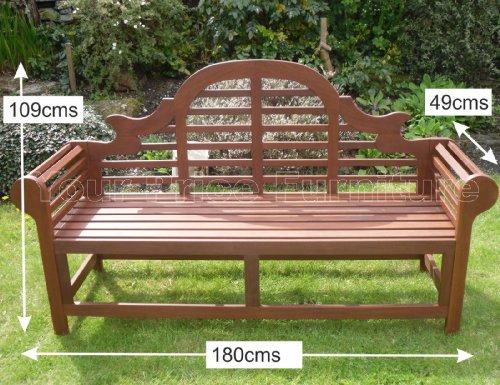 Richmond Large Hardwood Garden Bench Lutyens Marlboro Style 180cms 6ft Great Outdoor Furniture For Your Garden or Patio Marlborough