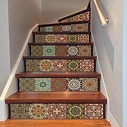 Floor Sticker,Clode® 1PC 18*100cm Originality DIY Steps Sticker Removable Stair Sticker Home Decor Ceramic Tiles Patterns (style U)