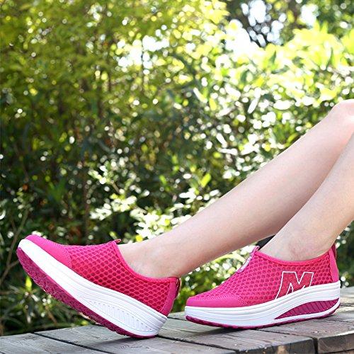 SAGUARO® Sommer Freizeitschuhe Keilabsatz Plateau Sportschuhe Mesh Oberfläche Slip On Schuhe Damen Rose Rot