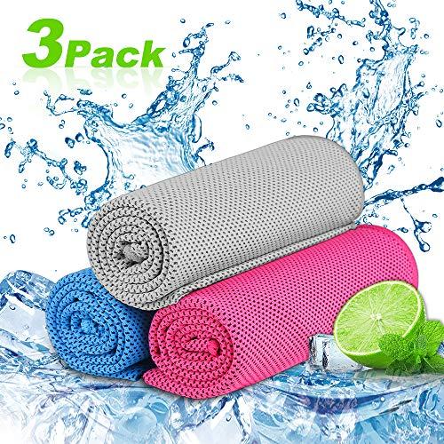 Nasharia Cooling Towel für Sport & Fitness,3 Pack Kühlung Handtuch/Kühltuch Kühlendes Handtuch Mikrofaser Handtuch für Yoga Reise Climb Golf Fußball Tennis & Outdoor Sports -
