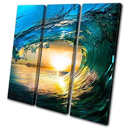 Bold Bloc Design - Sunset Seascape Tahiti Ocean Wave - 120x120cm Leinwand Kunstdruck Box gerahmte Bild Wand hängen - handgefertigt In Großbritannien - gerahmt und bereit zum Aufhängen - Canvas Art Print