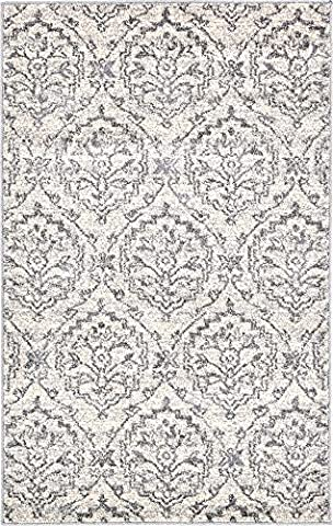 Modern Country 3-Feet by 5-Feet (3' x 5') Damask Ivory Contemporary Area Rug