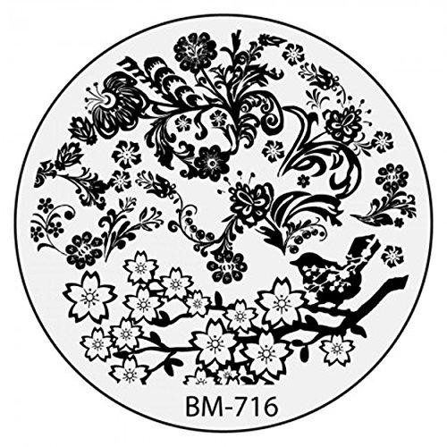 Stamping Pochoir Plate BM 716 Bundle Monster Fleurs Flower Tribal Nail Art Design
