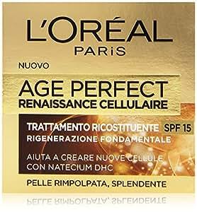 L'Oréal Paris Age Perfect Renaissance Cellulaire Crema Viso Antirughe Ricostituente Giorno, Pelli Mature, Protezione Solare 15, 50 ml