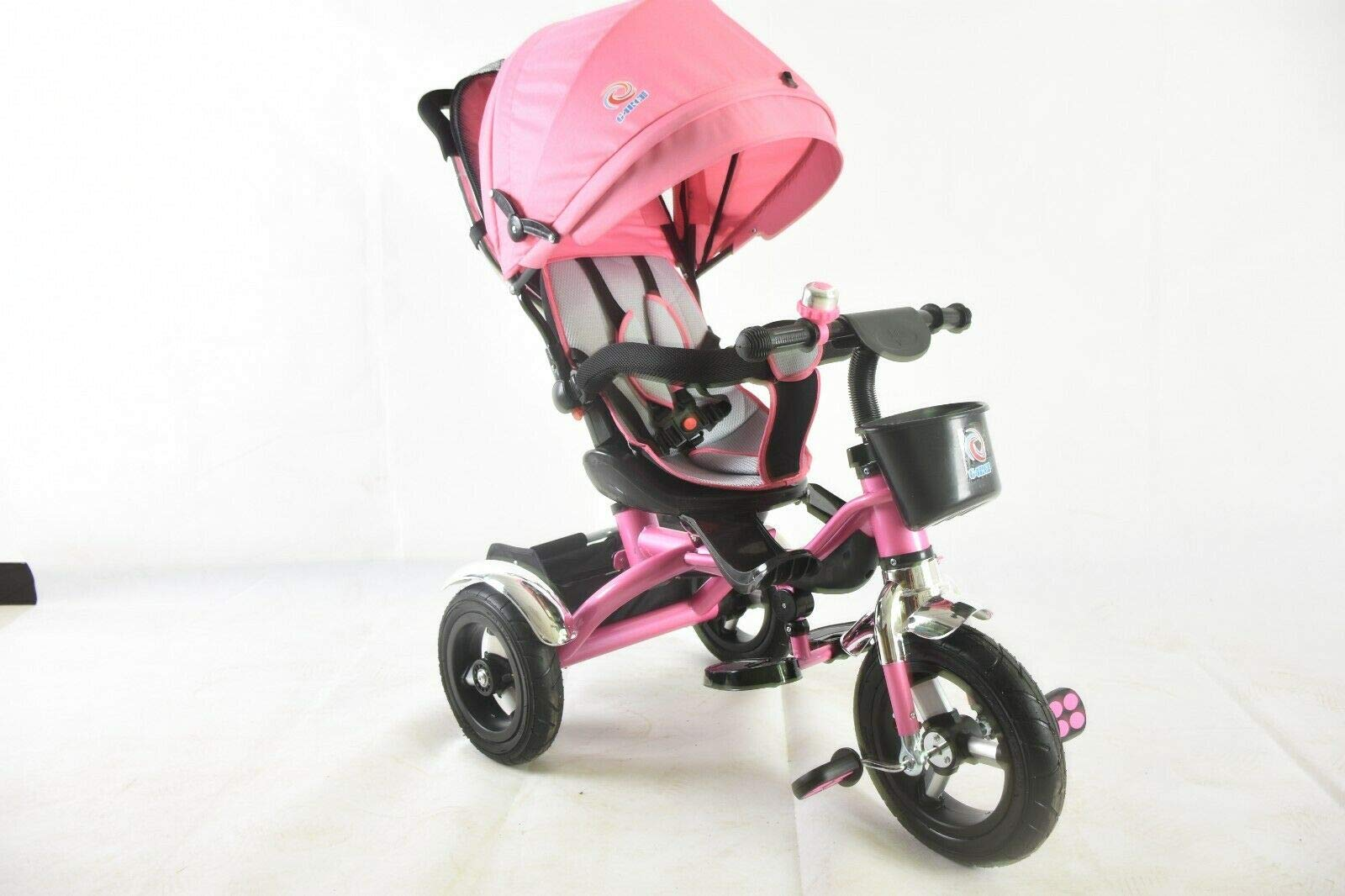Trike Tricycle Stroller Buggy Wheel Ride Push Rain Cover Rubber Tyres 4 in 1 System (Pink) Generic Removable Leg rest for kids to feet up. Adjustable and removable parent handle or control bar. Plastic seat with removable padded cushion and lap seat belt to keep your child safe. 3