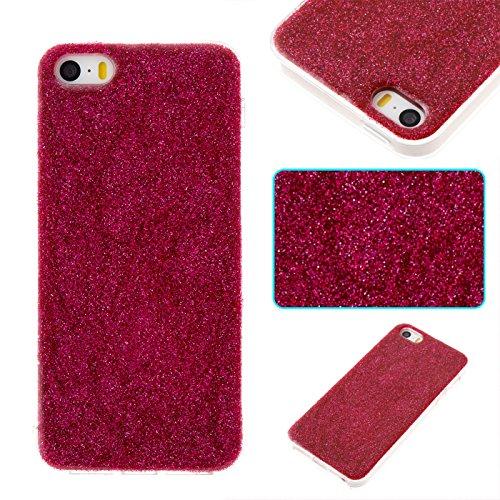 iPhone 5 Hülle, Voguecase Silikon Schutzhülle / Case / Cover / Hülle / TPU Gel Skin für Apple iPhone 5 5G 5S SE(Dijiao Glitzer-Silber) + Gratis Universal Eingabestift Dijiao Glitzer-Rot