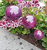 Pflanzstecker 3er Set aus Edelstahl mit Kugeln in Marmor violette Beetstecker Gartenstecker