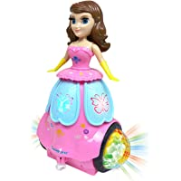Zest 4 Toyz 360 Degree Rotating Dancing Princess with Music and 3D Flashing Lights-Pink