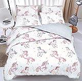 Pieridae Wendbares Bettbezug-Set mit Kissenbezügen, Einhorn-Motiv, 50 % Baumwolle / 50 % Polyester, Weiß / mehrfarbig, Doppelbett