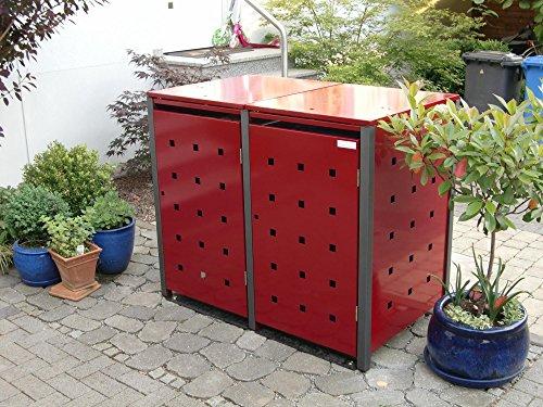 Resorti Mülltonnenbox Quadra 2-4 Mülltonnen mit 120 / 240 Liter Volumen Feuerverzinkt und Pulverbeschichtet inkl. Kippvorrichtung und Pflanzdach … (3 x 240 Liter, Anthrazit RAL7016) - 2