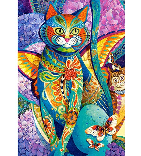 JINLXG 5D DIY Full Drill Cross Stitch Pictures Colorful Diamond Cat Diamonds with Fake Stones Embroidery Mosaic Home Decoration 40X50 cm Frameless -