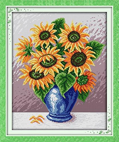 YEESAM ART Neu Kreuzstich Stickpackung - Sonnenblumen Vase 14 CT 36×44 cm DIY Stickerei Set Weiß...