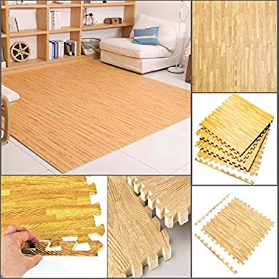 FB FunkyBuys® Wood Effect 32 SQ. FT Interlocking Reversible Floor Matting suitable for Gym Outdoor/Indoor Protective Flooring Mats - - 60x60cm - cheap UK light shop.