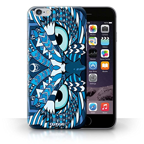Hülle für iPhone 6+/Plus 5.5 / Wolf-Purpur / Aztec Tier Muster Kollektion Eule-Blau