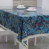 DSAAA Sencillez moderna mantel de PVC transparente de vidrio y suaves sábanas de tela de tapa mesa,azul 80*140cm