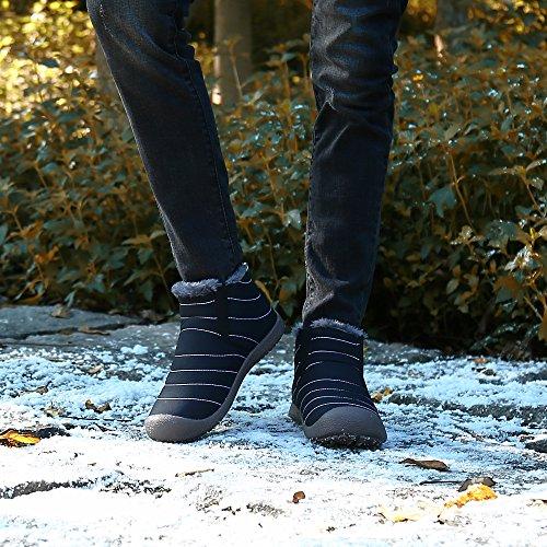 SAGUARO® Herren Damen Winterschuhe Warm Gefütterte Boots Stiefelette Outdoor Schneestiefel Winter Schuhe High top schwarz