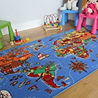 Educational FUN Colourful World Map Countries & Oceans Kids Rugs,