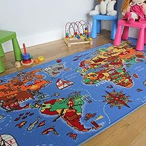 Tappeto colorato educativo, motivo: mappa dei paesi e degli oceani 133x200cm