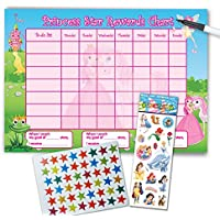 Re-usable Reward Chart (including FREE Star Stickers, princess stickers and Pen) - Princess Design