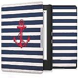 kwmobile Housse élégante en cuir synthétique pour Kobo Aura H2O Edition 1 en Design Ancres maritimes rouge bleu foncé blanc