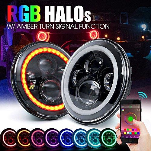 Green-L 7pollici 40W Proiezione Daymaker faro fari tondo LED DRL Hi/lo fascio con RGB Halo Angel Eye Faro